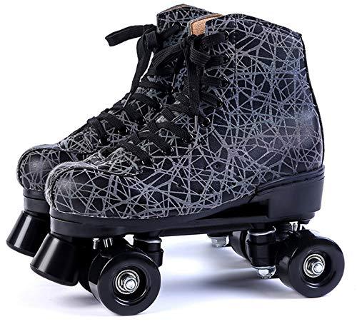 Xbshmw Leder Rollschuhe, Kinder Rollschuh Set, Outdoor Erwachsene Männer und Frauen Schwarz Zweireihige Rollschuhe mit 4 Rädern,Black Wheel,40