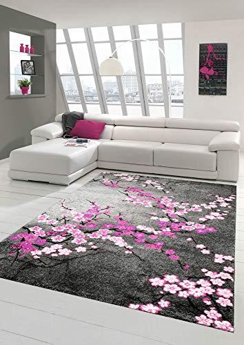 Designer Teppich Moderner Teppich Wohnzimmer Teppich Blumenmuster Grau Lila Pink Weiss Rosa Größe 80 x 300 cm