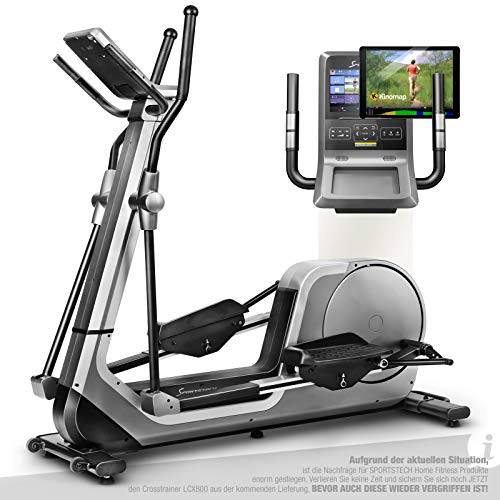 Sportstech Premium Crosstrainer für Zuhause | Deutsches Qualitätsunternehmen | Android Konsole + Video Events & Multiplayer-App | Home Ellipsen Trainer 24kg Masse | 12 Programme & HRC Mode | LCX800
