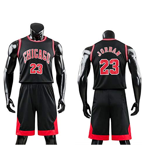 Daoseng Kinder Junge Herren NBA Michael Jordan # 23 Chicago Bulls Retro Basketball Shorts Sommer Trikots Basketballuniform Top & Shorts Basketball Anzug (Schwarz, L/Erwachsene Höhe 160-165CM)