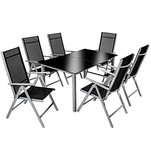TecTake 800355 Aluminium Polyrattan 6+1 Sitzgarnitur Set, 6 Klappstühle & 1 Tisch mit Glasplatten - Diverse Farben (Silbergrau   Nr. 402167)