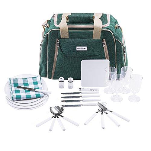 anndora Picknicktasche mit Kühlfach grün 29 teiliges Zubehör 4 Personen