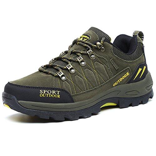 NEOKER Wanderschuhe Trekking Schuhe Herren Damen Sports Outdoor Hiking Sneaker Armee Grün 43