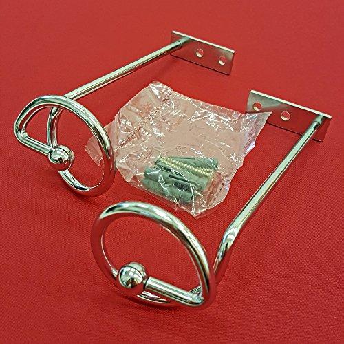 Easy-Shadow - 2 Stück Drapierhaken verchromt für Gardinen / Gardinenschals / Querbehänge / Vorhänge - Haken aus Metall zur Dekoration von Schals / Stores inkl. Montagematerial - verchromt