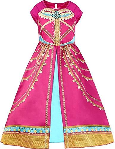 LCXYYY Mädchen Kleid Pailletten Klassisch Prinzessin Aladdin Jasmine Ankleiden Kostüm Outfit mit Umhang Perücke Haarband Kinder Party Kleider Halloween Karneval Cosplay Geburtstag Kleidung Set 2Pcs