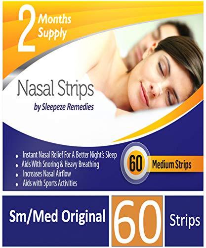 Nasenpflaster mittel x60 | Sleepeze Remedies® Nasenstrips stoppen das Schnarchen und helfen Ihnen direkt durch die Nase zu atmen | Premium Qualität Nasenpflaster Schnarchstopper (x60)