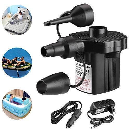 Elektrische Luftpumpe, Elektropumpe mit 3 Luftdüse Kompressor für Luftmatratzen, Schlauchboote, Gästebetten, Aufblasbare Schwimmtiere Oder Camping–Automatisches DC12V/AC220V
