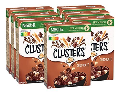 Nestlé Clusters Schokolade, Cerealien aus 59% Vollkorn, mit Schokolade & Mandeln, enthält Vitamine, Calcium & Eisen, 7er Pack (7 x 375g)