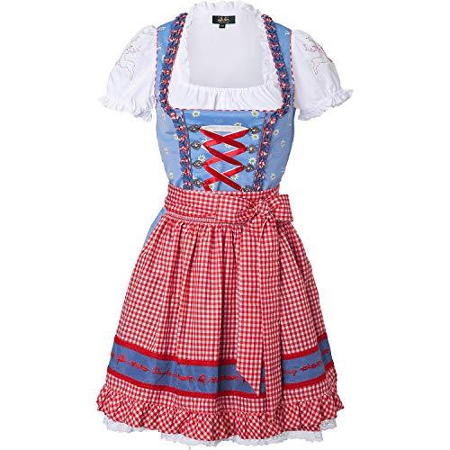 Wiesnkönig Damen Dirndl Adelheid, Mehrfarbig (Blau-Rot 326), 36