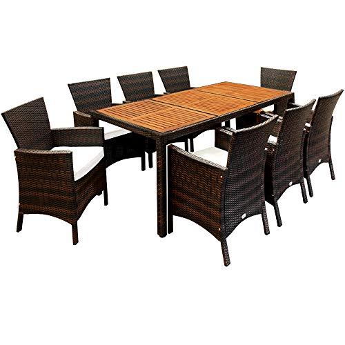 Deuba Poly Rattan Sitzgruppe Garten 8 Breite Stühle 7cm Auflagen Gartentisch Akazie Holz 8 Personen Gartenmöbel Set Braun