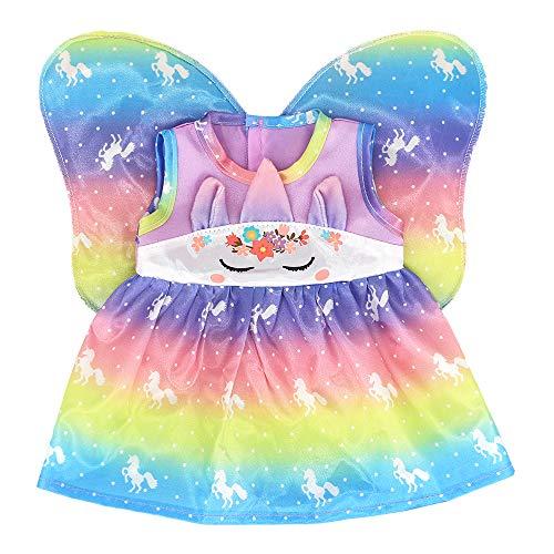 ZWOOS Puppenkleidung für New Born Baby Doll, Einhorn Feen Outfit mit Flügeln für Puppen 35-43 cm