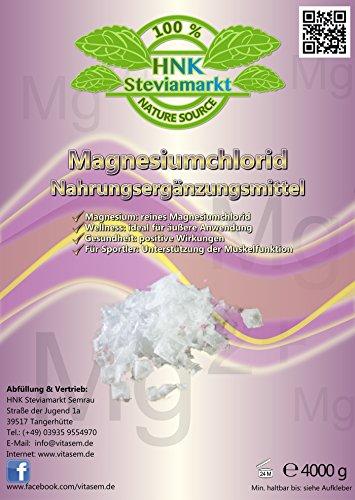 Magnesiumchlorid 4kg hautfreundlich Nahrungsergänzungsmittel für Sportler gegen Muskelverspannungen und Magnesiummangel Hexahydrat (1x 4kg)