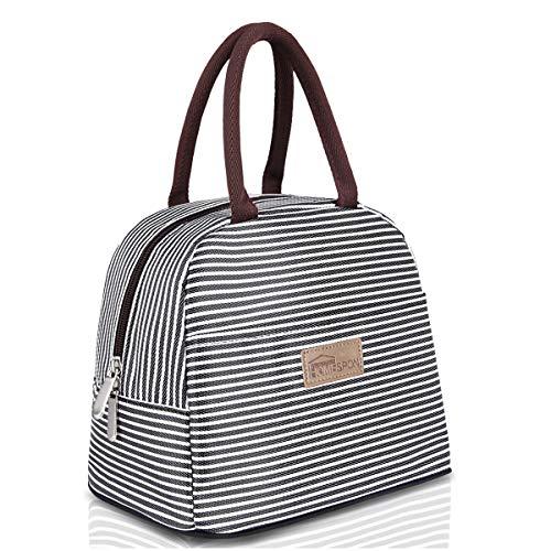 HOMESPON Isolierte Lunch Bag Cool Bag für Lunch Boxes Gestreiftes Wasserdichtes Gewebe Faltbare Picknick-Handtasche für Frauen, Erwachsene, Studenten und Kinder