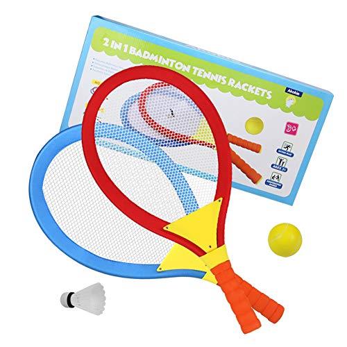 Akokie Tennisschläger Kinder Federball Set Badminton Racket Set Spielzeug Draussen Spielzeug für Kinder ab 3 4 5 6 Jahren