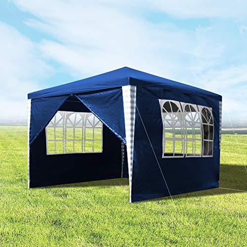 wolketon Pavillons 3x3m Wasserdicht Gartenpavillon mit 4 Seitenteile Wasserdicht Blau Gartenzelt Partyzelt für Camping Hochzeit und Festival