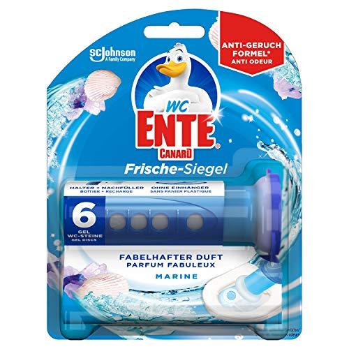 WC Ente Frische-Siegel, WC Stein aus Gel, Spendergriff inkl. Nachfüller, Marine Duft, 5er Pack (5 x 36 ml)