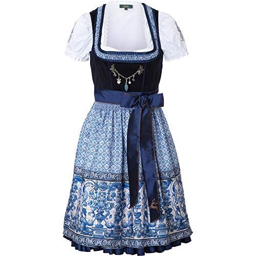Wiesnkönig Damen Dirndl Sarah, Mehrfarbig (Blau-Weiß 320), 44