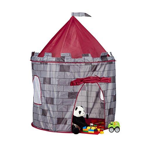 Relaxdays Spielzelt Ritterburg, Kinderzelt Jungen, Ritterzelt für Kinder ab 3 Jahre, HxBxT: 125 x 105 x 105 cm, grau