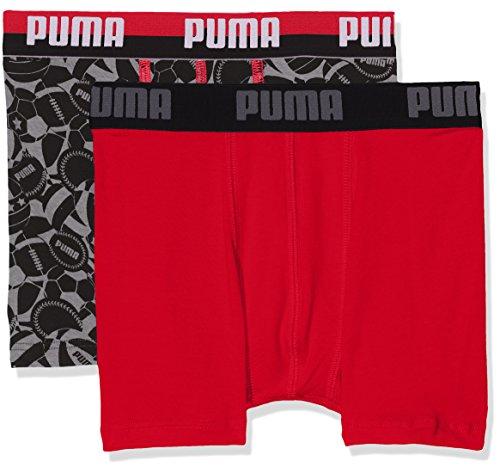 PUMA Jungen Unterhose Basic Sport Boxer 2P, Black/Grey, 140, 675002001