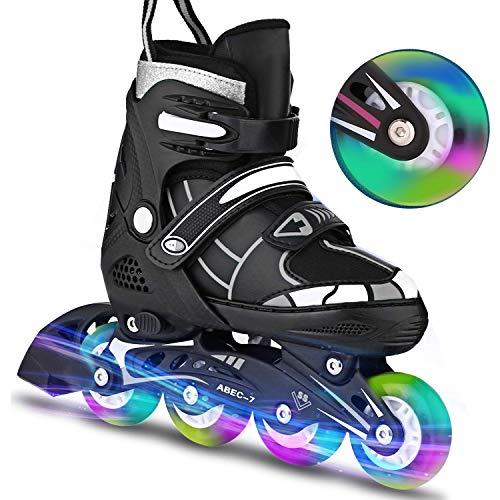 Inline-Skates Rollschuhe für Kinder/Jungen/Mädchen Canvas-Design verstellbar mit leuchtenden PU-Rädern Triple Protection Lightweight Inline-Skates (Weiß, M: 35-38 EU)