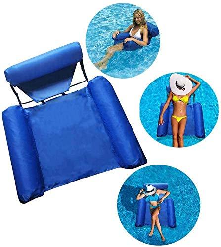 Echden Wasser Hängematten Schwimmer, schwimmende tragbare aufblasbare U-Sitz-Hängematte mit klappbarem Netz, doppelt verwendbarer Rückenlehne Wasser-Lounge-Stuhl Schwimmsofa-Poolsitz