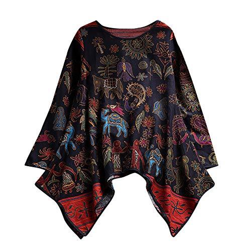 VEMOW Damen Sommer Herbst Elegante damen Floral Printed Langarm Beiläufig Täglichen Party Workout Tunika Swing Tops Shirt Bluse Hemd(X2-Marine, EU-52/CN-3XL)