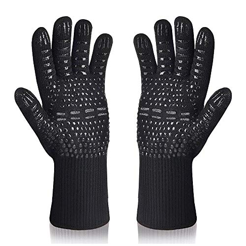 Karrong Grillhandschuhe, Ofenhandschuhe Hitzebeständig bis zu 800 ° C, Kochhandschuhe Grill BBQ Handschuhe (Schwarz)