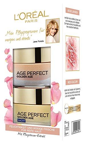 L'Oréal Paris Feuchtigkeitscreme für rosig-frischen Teint, Tag und Nacht Gesichtspflege Geschenkset, Golden Age Rosen Creme