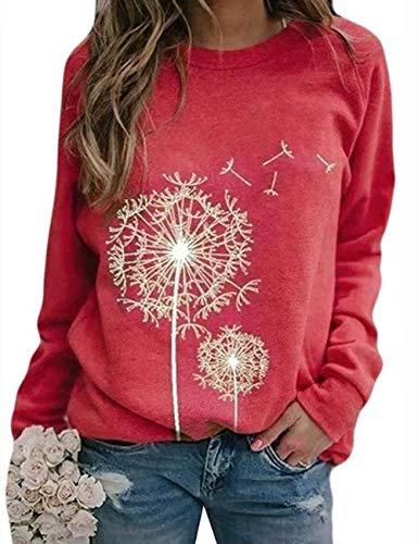 Damen Rundhals Sweatshirt Frauen Langarmshirt Bedrucktes Pullover Oberteil Tops Herbst Freizeit T-Shirt Bluse (P-Rot, L)