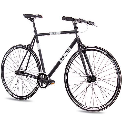 CHRISSON 28 Zoll Vintage Fixie Singlespeed Retro Fahrrad FG Flat 1.0 schwarz 56 cm - Urban Old School Fixed Gear Bike für Damen und Herren