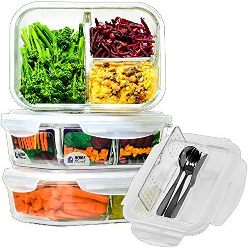 Home Planet® Dreifächer Lebensmittelbehälter aus Glas 1050ml 3er Set   97% weniger Kunststoffverpackungen   Bento Box Frischhaltedose Meal Prep Boxen   Aufbewahrungsbox Küche   Glasbehälter mit Deckel