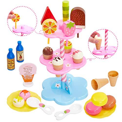 Buyger Eiscreme EIS Spielzeug Eisständer EIS-Party Lebensmittel Küchenspielzeug Rollenspiele für Kinder Jungen Mädchen