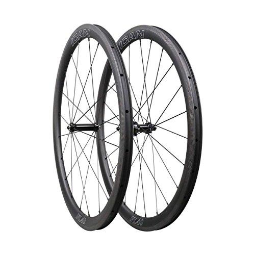 ICAN FL40 Rennrad Laufradsatz Carbon Draht Tubeless Ready Felge gerade Pull Sapim CX Ray Speiche (schnelle & leichte Serie)