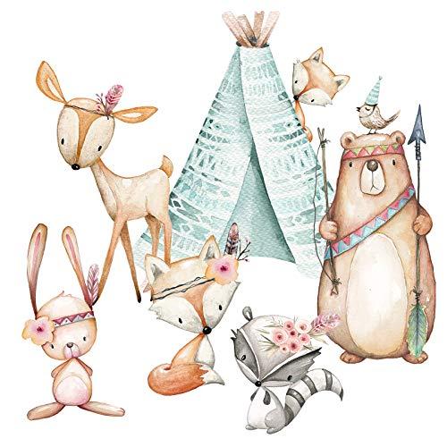 Little Deco Aufkleber Waldtiere & Bär mit Pfeil und Bogen I Wandbild M - 77 x 53 cm (BxH) I Zelt Wandsticker Kinder Wandtattoo Kinderzimmer Deko Babyzimmer DL490
