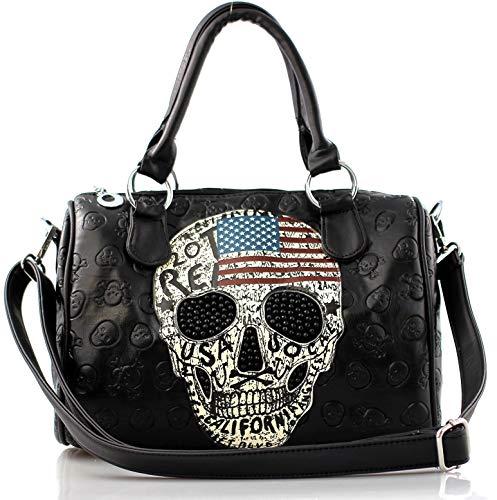 Damen Handtasche Totenkopf Skull Bone Bowling Bag Gothic Punk Damentasche Stars Stripes Amerika Punk Rock Pop