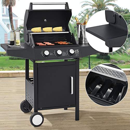 Broilcue BBQ Gasgrill Louisiana 3 Brenner 8,1 kW   Gas Grillwagen inkl. Grillrost, Deckel mit Grill Thermometer, Warmhalterost & Seitenablagen
