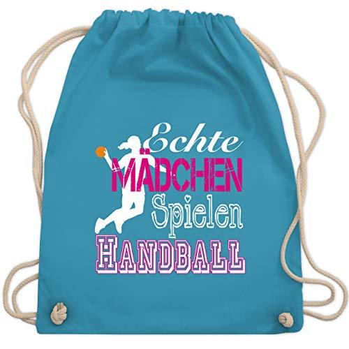 Shirtracer Handball - Echte Mädchen Spielen Handball weiß - Unisize - Hellblau - beutel handball - WM110 - Turnbeutel und Stoffbeutel aus Baumwolle