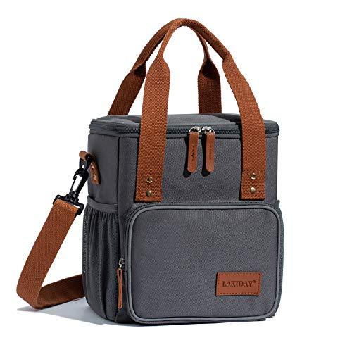 LAKIDAY Kühltasche Lunchtasche Damen Herren Kinder Thermotasche Wiederverwendbare Lunch Taschen für Arbeit, Picknick, Wandern, Ausflügen, Angeln(Dunkel Grau-2)