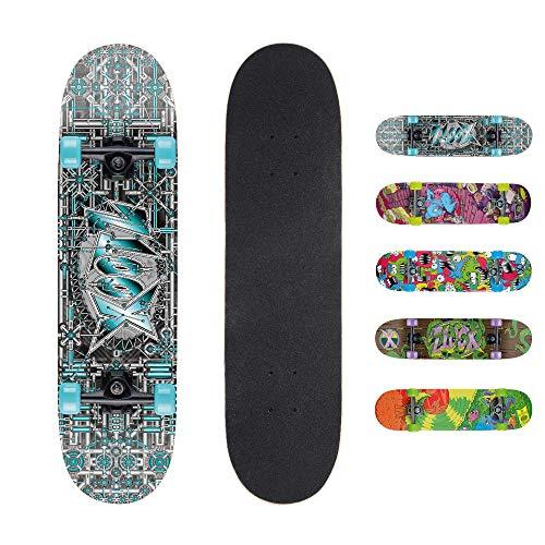 Xootz Kinder-Skateboard für Absolute Anfänger Double-Kick-Trick –Ahorndeck, 78,7x 20,3cm, Kinder, Industrial, Industrial