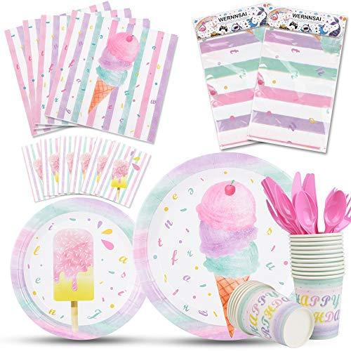 WERNNSAI EIS Partyzubehör Set - EIS und EIS am Stiel Party Geschirr für Mädchen Geburtstag Baby Shower Tischdecke Teller Tassen Servietten Besteck Tasche Utensilien für 16 Gäste 130PCS