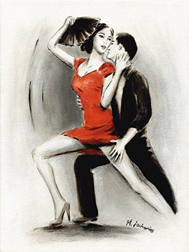 Artland Qualitätsbilder I Wandtattoo Wandsticker Wandaufkleber 30 x 40 cm Sport Funsport Tanzen Malerei Rot D3NR Leidenschaftliches Tanzpaar Lateinamerikanische Malerei