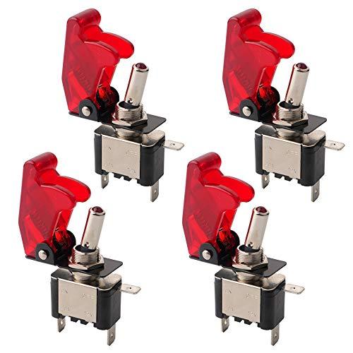 QitinDasen 4Pcs Professionell Auto Kippschalter, mit Rot Wasserdichte Abdeckung Rot LED Anzeige, ON-OFF 2 Position 3 Pin SPST Metall Auto Wippschalter, für Auto LKW KFZ Boot (20A / 12VDC)