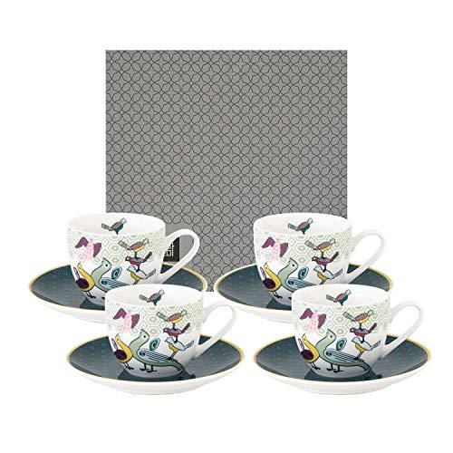 IMAGES D'ORIENT Birds of Paradise Espresso-Set bunt, 8-TLG, 4X Espresso-Tassen mit Untertassen, 90 ml, Porzellan, orientalisches Design mit geometrischen Mustern, inkl. Geschenk-Box