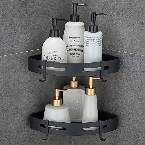 Gricol Eckablage Duschkorb Duschregal Ohne Bohren Aluminium Mit 2 Haken für Dusche Badregal Selbstklebende für Bad und Küche 2 Stück (Schwarz)