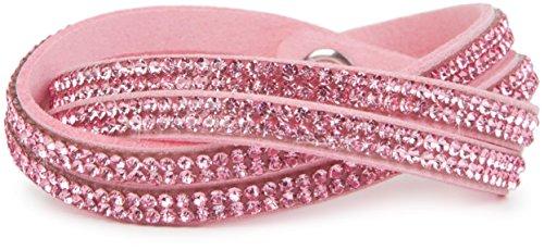styleBREAKER weiches Strass Armband, eleganter Armschmuck mit Strassteinen, Wickelarmband, 2x2-Reihig, Damen 05040004, Farbe:Rosa/Rosa