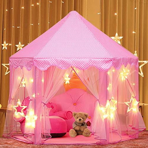 joylink Kinderspielzelt, Prinzessin Castle Spielzelt für Kinder mit Sternen,53 '' x 55 '' (DxH) (A) (Pink 2)