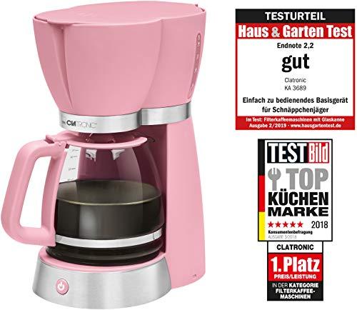 Clatronic KA 3689 Rock'n'Retro Filterkaffeemaschine für 15 Tassen, Glaskanne, Tropfstopp, Abschaltautomatik, 1000 W, Pink