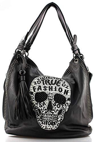 Star-Trends Damen Handtasche Totenkopf Skull Bone Bowling Bag Gothic Punk Damentasche Schultertasche by (Schwarz)