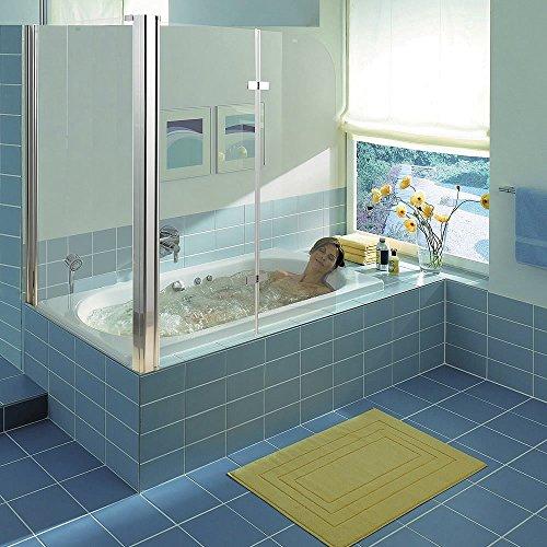 Melko® Duschabtrennung Badewannenaufsatz aus 5 mm ESG Sicherheitsglas, faltbar, 68 + 120 x 140 cm, Klarglas, inkl. Zubehör