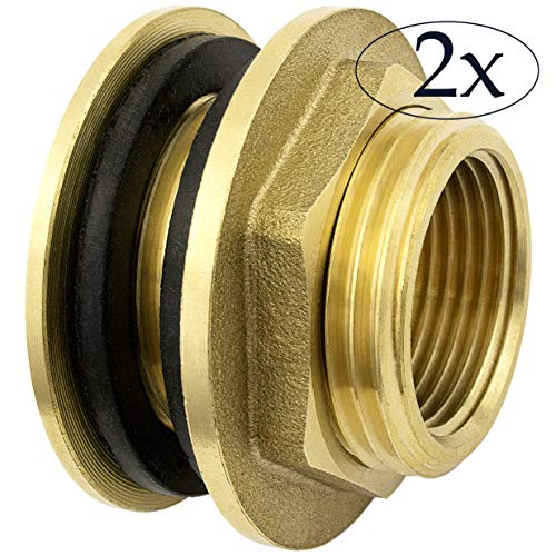 Premium 3/4 Zoll Regentonnendurchführung aus Messing + 2X Gummidichtungen für Wasserhahn, Zapfhahn an Fass, Regentonne, Tanks rostfrei (2er Pack)
